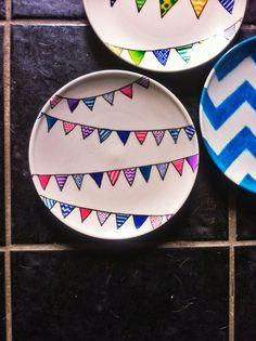 Hand-decorated bunting plate