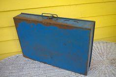 Vintage Rustic Blue Metal Sorting Box Hardware Storage Bin Craft Supply Case by retrowarehouse on Etsy