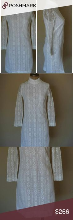 Vintage lace mini wedding dress from 1970 I am obsessed with this dress. It came with a tag attached with the story of who wed while wearing it, in 1970. Doesn't get cooler than that! It's a beautiful floral lace, the mini skirt balances out the long sleeves. This is the quintessential boho hippie dress. Would be stunning with a floral wreath and bare feet. I hope someone can enjoy it! beelight Dresses Wedding