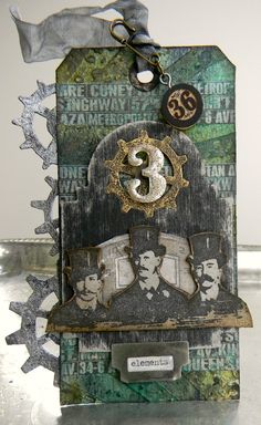Steampunk tag using Sizzix and Tim Holtz products. Tag by @Shelly Hickox.