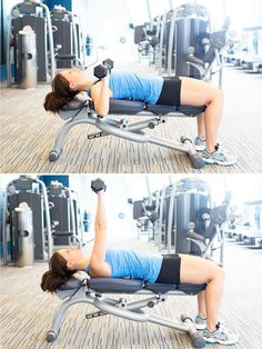 Work your chest, shoulders, and triceps with dumbbell chest presses on a bench. #exercise #workout #fitness