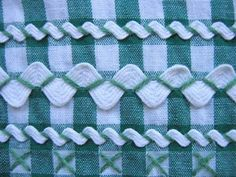 """Vintage Sewing Skills for the """"Old Fashion Vintage Farmer's Wife"""" ~~~detail of vintage dark green gingham apron with white rick rack trim Embroidery Applique, Cross Stitch Embroidery, Embroidery Patterns, Sewing Patterns, Rick Rack, Sewing Hacks, Sewing Crafts, Sewing Projects, Crazy Quilting"""