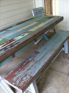 Style Porch With Color Pallet 23 Lawn Furniture, Diy Outdoor Furniture, Outdoor Decor, Painted Furniture, Pallet Furniture, Rustic Furniture, Furniture Ideas, Diy Farmhouse Table, Rustic Table