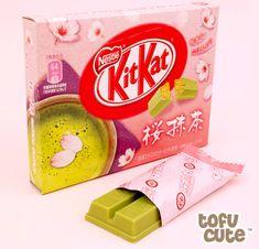 Buy Japanese Kit Kat Sakura Matcha - Gift Box at Tofu Cute Meiji Chocolate, Japanese Chocolate, Japanese Snacks, Japanese Sweets, Japanese Kit Kat Flavors, Tofu, Matcha Kit Kat, Candy Board, Japanese Matcha