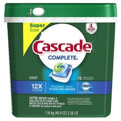 Cascade Complete ActionPacs Dishwasher Detergent, Fresh Scent, 78 Powers away stuck-on messes - no pre-wash needed ActionPacs with the grease-fighting power of Dawn Best Dishwasher Detergent, Dishwasher Pods, Laundry Detergent, Dish Detergent, Cascade Dishwasher, Bathtub Drain, Dishwashing Liquid, Cleaning Supplies, Cleaning Products