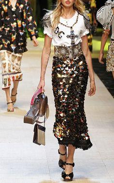 Sequin Paillette Skirt by DOLCE & GABBANA for Preorder on Moda Operandi