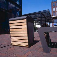 modern straatmeubilair in hout en staal Linea dust bin