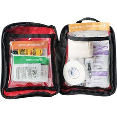 """The Adventure First Aid 1.0 contains supplies to treat cuts & scrapes, sprains, insect bites, headaches, muscle aches, and allergic reactions. Easy Care First Aid System organizes items by injury with Easy Care cards to help anyone quickly and confidently give first aid. Kit contains enough first aid and medical gear for 1-2 people for 1-2 days. Contents: Bandage Materials  (12) Bandage, Adhesive, Fabric, 1"""" x 3"""" (1) Bandage, Adhesive, Fabric, 2"""" x 4.5"""" (2) Bandage, Adhesive, Fabric, Knuc..."""