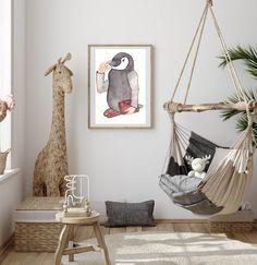 Cute Penguin Illustration Nursery Art Prints | Animal Art for Kids Room Bathroom | Arctic Animal Baby Shower Print | Nursery Animal Wall Art