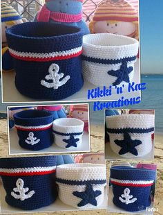 Crocheted Nautical Style Baskets by KikkinKazKreations on Etsy