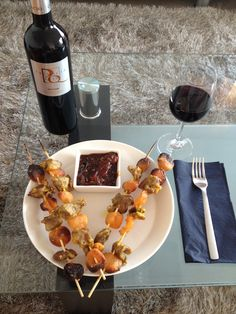 What I ate at McDonald's today? Nothing! I grilled some Cape Malay lamb skewers with apricots and sweet Monkeygland tomato sauce. The original recipe is from a Finnish wine magazine and origins are from South Africa.