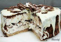 Sernik Bounty z polewą z białej czekolady