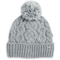 Rella Cable Knit Pom Pom Accented Fleece-Lined Beanie ($36) ❤ liked on Polyvore featuring accessories, hats, beanies, headwear, heather grey, beanie caps, cable beanie, cable hat, fleece lined beanie hat and cable knit pom pom hat