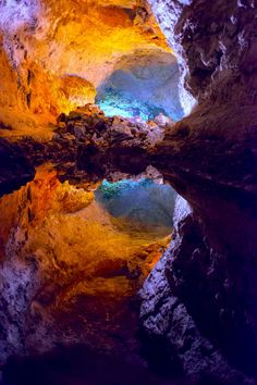Cuaves de los Verdes - a lava tube located in the north of Lanzarote in the Canary Islands.