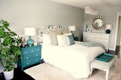 Love the blue dressers use as nightstands -  Living Beautifully...One (DIY) Step At A Time: Master Bedroom Reveal