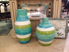 Coastal Colored Vases!  Seaside Home 912-638-8815