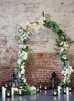 White Floral Wedding Arch l Wedding Floor Lanterns and Candles l Wedding Ceremony Backdrop Display