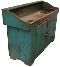 Early 19th century Pennsylvania , Drysink with the beautiful teal  paint over original red, circa 1820.