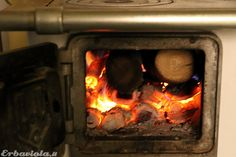 Into the wood stove