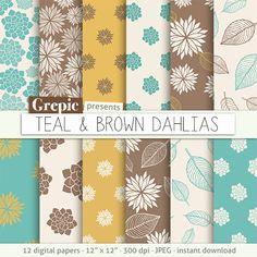 "Brown floral digital paper: ""TEAL & BROWN DAHLIAS"" clip art brown floral patterns nature dahlias paper leaves  dahlia flowers backgrounds #patterns #download"