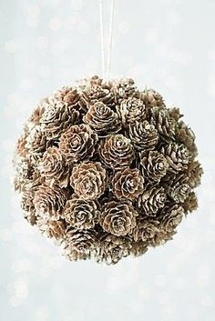 "DIY Craft - pinecone ""kissing ball"" - use styrofoam ball, glue on cones, frost with spray ""snow"", insert hanger Noel Christmas, All Things Christmas, Winter Christmas, Christmas Ornaments, Christmas Wedding, Pinecone Christmas Crafts, Diy Ornaments, Christmas Fashion, Ball Ornaments"