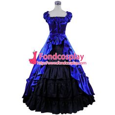 Free Shipping Gothic Lolita Punk Medieval Gown Blue and Black Ball Long Evening…