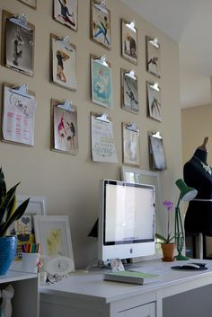 Whether for inspiration or organization, utilizing clipboards on an office wall is a smart way of taking advantage of wall space and adding easily alterable imagery onto the walls without having to paint them (wallpapering each clipboard is another inspired idea). Think of this clipboard arrangement as a real world Pinterest board for the walls!