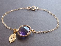Personalized Initial Leaf Amethyst bezel by siemprejewelry on Etsy, $25.00