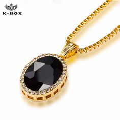 """New Mens Iced Out Black Onyx Oval Stone Pendant &3mm/ 30"""" Box Chain Hip Hop Necklace XZ98BX"""