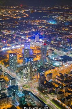 Warsaw Poland at night, from above