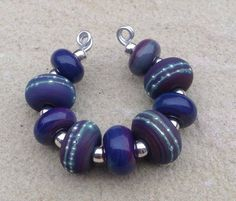 Rich Purple Blue with Pure Silver Lampwork Glass by TheFyreFaerie