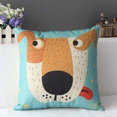 Vintage Home Decor Cotton Linen Throw Pillow Cover Creative Cartoon Dog, Grey