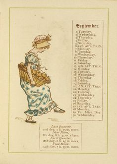 September page from 'Almanack for 1895 by Kate Greenaway (1846-1901). Image and text courtesy NYPL Digital Gallery.