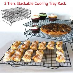 3 Tier Steel Baking and Cooling Rack http://ali.pub/1g5gw1 Tray Cookie Cake Food Stackable Kitchen Non-Sticky Retractable Tools Cupcake Cooling Gadgets
