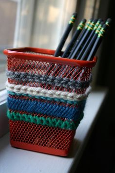 pencil holder from Ikea - teach some needlepoint stitches