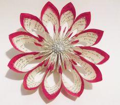 Handmade Christmas Wreath Wallflower- paper flower, origami, home decor, gift, twas the night before christmas