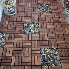 "Pinner said: ""Our 70 square feet balcony floor makeover under $180. IKEA deck tiles with river rocks from dollar store = beautiful balcony floor for outdoor space. So easy to install and remove later if you are a renter"""