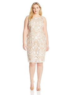 Big size feshion Adrianna Papell Women's Plus-Size Embroidered Mesh Boat Neck Shift Dress, Ivory, 16W