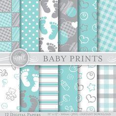 "BABY PRINTS Grey & Teal Digital Paper Pack Pattern Prints, Instant Download, 12"" x 12"" Printable Patterns Scrapbook Paper Boy UNISEX"