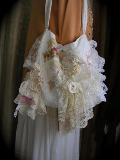 Shabby n Chic Bag, cottage romantic, layers doily lace ruffles, white pink…