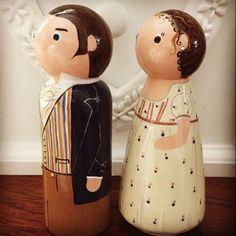Elizabeth Bennett and Mr Darcy, a Pride and Prejudice. Wooden peg dolls, cake toppers keep sake gifts