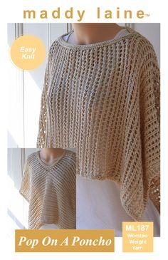 Pop On A Poncho Knitting pattern by maddycraft Free Knit Poncho Pattern, Poncho Knitting Patterns, Shawl Patterns, Knitted Poncho, Crochet Patterns, Poncho Shawl, Crochet Ideas, Shawl In A Ball, Crochet Prayer Shawls
