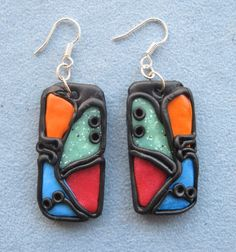 Colorful Earrings  Red Orange Blue Green by BoutiqueShopJewelry, $8.00