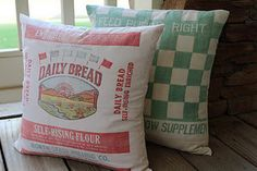 Recycled Flour Sack pillows :)
