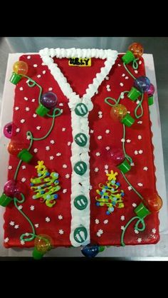 Ugly Christmas Sweater Cake - 16 Totally Unforgettable Ugly Sweater Party Ideas Here are 16 Totally Unforgettable Ugly Sweater Party Ideas that will literally make Santa cringe! Get ideas for outfits, decor, drinks and more! Tacky Christmas, Christmas Sweets, Noel Christmas, Christmas Goodies, Christmas Crafts, Christmas Cupcakes, Christmas Parties, Christmas Baking, Christmas Ideas