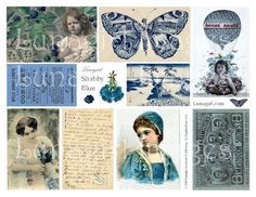 SHABBY BLUE collage sheet digital DOWNLOAD vintage images Victorian postcards French ephemera photos altered art