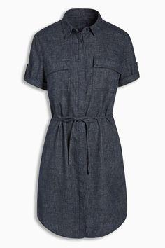Next Navy Linen Blend Shirt Dress