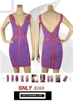 Herve Leger V-Neck daisy banded trim dress purple $169.00