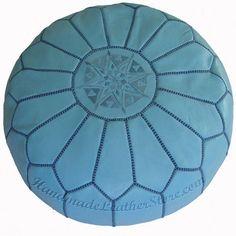 Sky Blue Moroccan Leather Pouf Handmade Poufs Pouffe Ottoman Poof Pouffes   eBay $179 stuffed