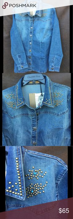 Beautiful Denim blouse Gorgeous blouse for any occasion, beautiful detail on buttons as pictured in #4 and gold beads as in picture #3. The blouse is a thick denim material. R Cinco Ranch Tops Button Down Shirts
